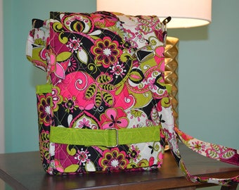 """Pink and green quilted """"Ragamuffin"""" crossbody purse for iPad"""