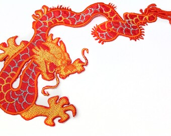 Iron On Chinese Dragon Patch Applique, Embroidered Chinese Dragon Badge