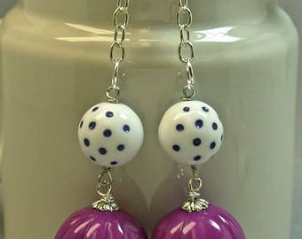 Vintage Pink Purple Lucite Retro Melon Bead Dangle Drop Earrings, Vintage White Lucite Dark Blue Polka Dot Bead, Silver French Ear Wires