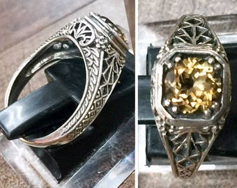 Victorian Ring • Dainty ring • Art Deco ring • Art Nouveau ring • Sterling Silver • engagement ring • Birthstone • Citrine ring • sz 6