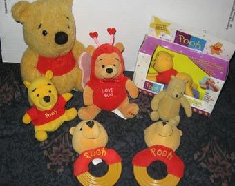 7 Plush Winnie the Pooh Items - Timex - Gund - Disney - Sears - First Years
