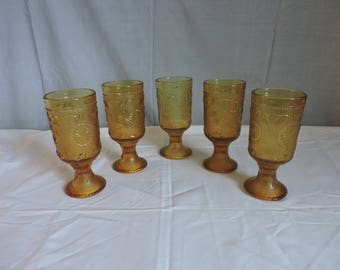 """Tiara Indiana Sandwich Glass Amber Straight Side Water Goblet 6 1/4"""""""