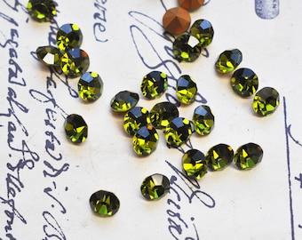 12 Vintage Olivine Swarovski crystals, SS35, Austrian Crystals, Green Crystals, Craft Supplies, jewelry supplies