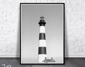 Lighthouse Print, Black And White Art, Beach Print, Large PRINTABLE Poster, Nautical Print, Coastal Decor, Ocean Print, Digital Download