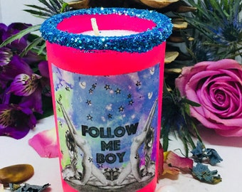 Rita's Follow Me Boy Signature Scented 2 Day Ritual Altar Candle - Keep His Attention. Witchcraft, Pagan, Hoodoo, Conjure, Wicca, Witchcraft
