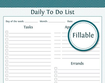 Daily To Do List - Fillable - Plan your day - Printable Daily To Do List Planner - Daily Planner - Printable PDF - Instant Download
