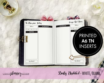 Undated Daily Travelers Notebook | Daily Planner Insert | No3/A6 TN Inserts