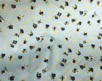 Vintage Floral Cotton Fabric, Blue Floral Fabric, Quilt Cotton Floral, Vintage Fabric
