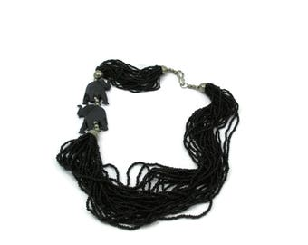 Multi Strand Seed Beads Black Necklace Elephant Tribal Ethnic  22 Inches Statement Jewelry Vintage Costume Jewelry Safari Animals
