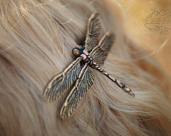 Dragonfly Hair Clip in bronze/gold 11x6, 5 cm