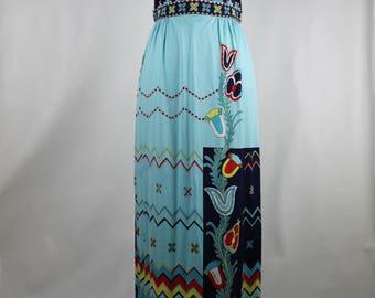Vintage Paganne Art Deco Print Maxi Dress