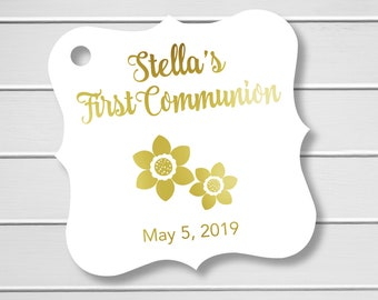 Personalized First Communion Tags, Gold Foiled Baptism Hang Tags, (FS-637-F)