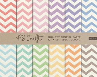 Chevron Watercolor Digital Papers, Watercolor Zigzag Background, Zigzags Wallpaper,  Pastel Zigzag Pattern
