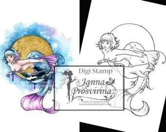 Digital Stamp, Printable, Instant download, Digi stamp, Coloring page, Art of Janna Prosvirina