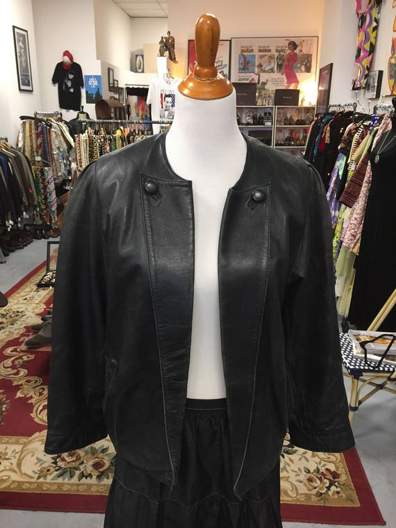 Beautiful Vintage 1980s Soft as Butter Women's Centropelle Black Leather Jacket Sz 40