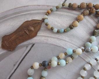 Necklace mala Buddha Old Amulet gemstones Turquoise