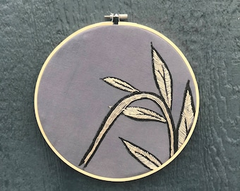 Hand embroidered botanical hoop art