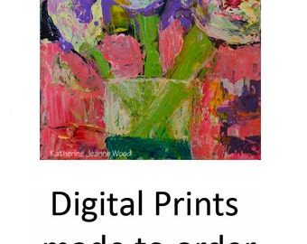 Unique Abstract Pink Black & Purple Flowers Painting Print. Floral Art  Prints by Katie Jeanne Wood. No 48