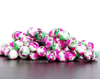 Howlite - Diam 10 beads. 8 mm - mottled effect, white, pink and green (H9)
