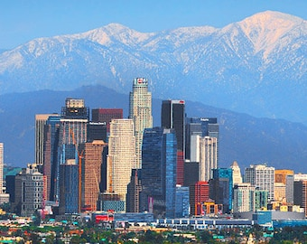 CANVAS Los Angeles Skyline Mountains View from West LA Photographic Panorama Print Photo Picture