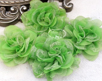 NEW: 4 pieces SMALL Shabby Chic Frayed Chiffon Mesh and Lace Rose Fabric Flower - Lime Green