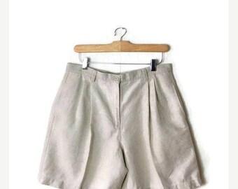ON SALE Vintage Light Beige/Oatmeal Linen/Cotton  High Waist Flare Shorts/W30*