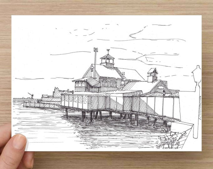 Drawing of Building at Sea Port Village  - San Diego, Ink Drawing, Sketch, 5x7 Print, Art, Drawing, Illustration, Architecture, Pen and Ink