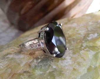 15ct natural Black Spinel Ring Sterling and White Topaz Accents Sz 6.5
