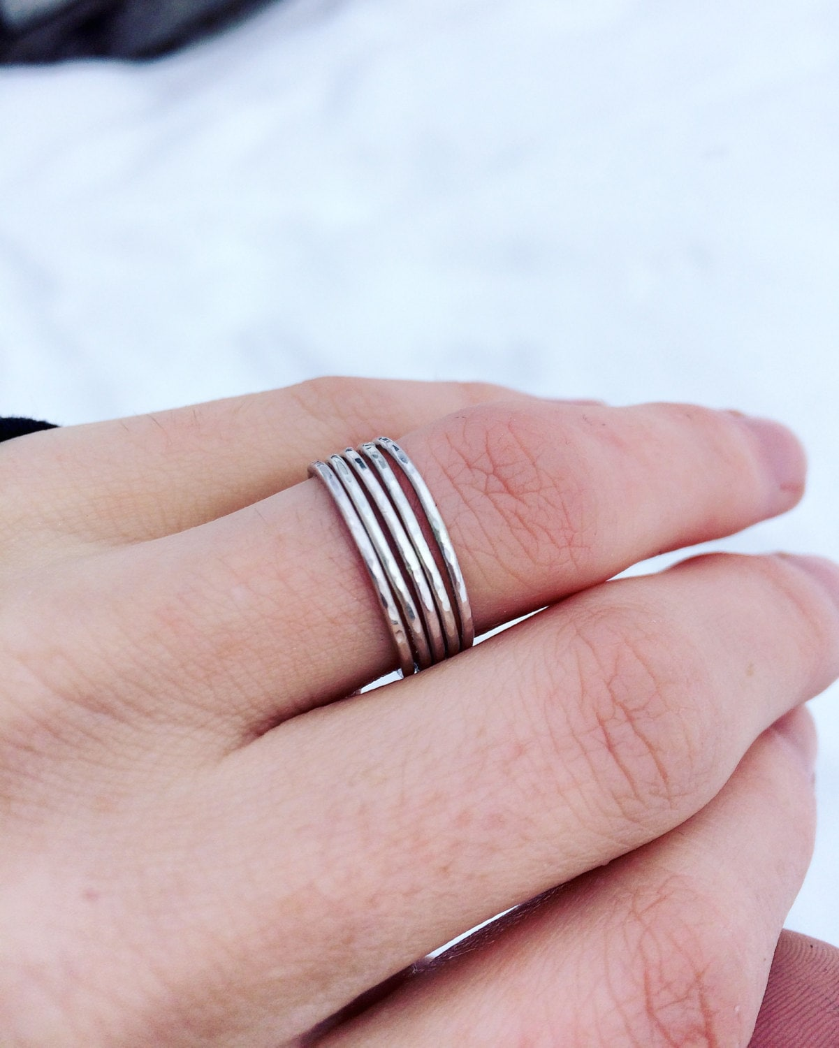Hammered Thin Stacking Ring