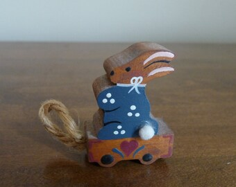 Hand Painted Wooden Easter Bunny Spring Holiday Miniature Rabbit Pull Toy