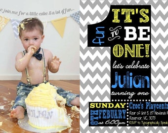 First birthday invite invitation chevron with photo Its fun to be one birthday boy or girl 1st digital file- Typographically Speaking