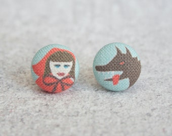 Little Red Riding Hood Fabric Button Earrings