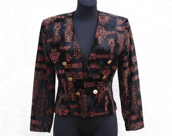 Vintage 1980's 80's Black Velvet Blazer Women's Red Abstract Print Evening Jacket Shoulder Pads Double Breasted Velvet Blazer Medium Size