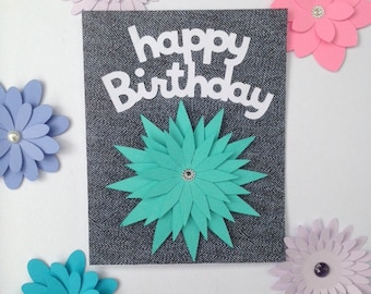 Blue Jean Lovers Birthday Card with turquoise flower