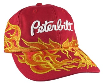 Peterbilt Truck 3D Embroidery on Adjustable Pinstripe Tribal Racing Flames Soft Structured Fashion Red Baseball Cap + Option to Personalize