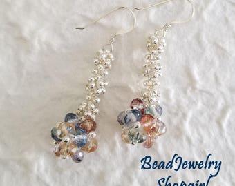 Candy Crystal Balls Dangling Earrings, Long