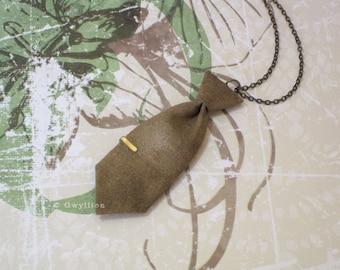Unisex Mini Tie Antique Bronze Necklace Pin