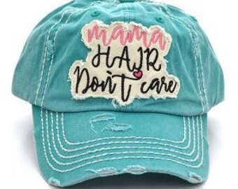 Mama Hair Don't Care Vintage Trucker Hat - Turquoise