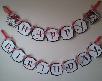 Minnie Mouse Happy Birthday Banner- Minnie Mouse Birthday-