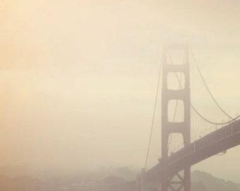 San Francisco Photograph, Golden Gate Bridge, California, fog, minimal, travel photography, muted tones, cream, minimal, brown, earth tones