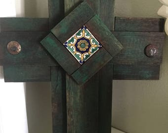 Recycled Barn Wood Cross Spanish Tile Rustic Clavos