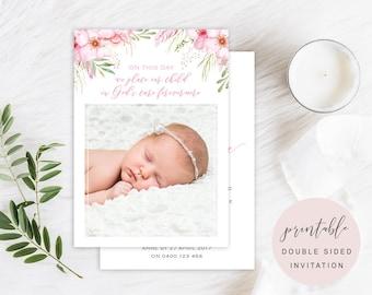 Soft Floral Baptism Invitation, Pretty Girl Baptism, Pink Flower Christening Invitation, Christening Invite, Printable, Digital, BAP001