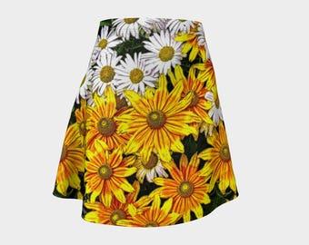 Yellow and White Daisies Flared Skirt