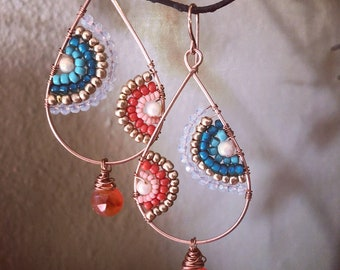 Orange and teal decorative hoops
