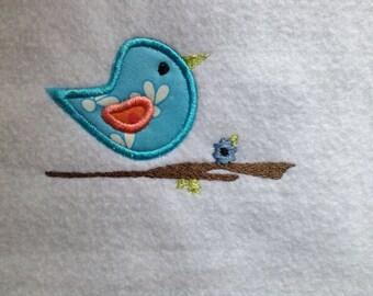 INSTANT DOWNLOAD Primitive bird on branch applique 4x4 5x7 6x10