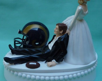Wedding Cake Topper Los Angeles Rams L.A. Football Themed w/ Garter Humorous Sports Fans Bride Groom Marriage Bridal Shower Gift Idea Funny