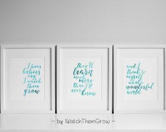 "Printable ""What A Wonderful World"" Nursery Wall Art, Set of 3 Aqua Watercolor Nursery Art, Armstrong Lyrics Art 8x10 INSTANT DOWNLOAD"
