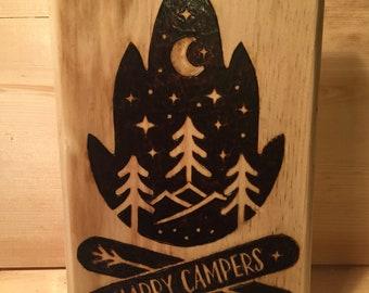 Happy Campers custom wood burning!