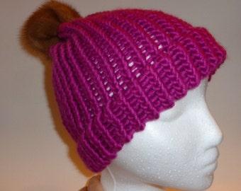 Mink Pom-Pom Winter Hat