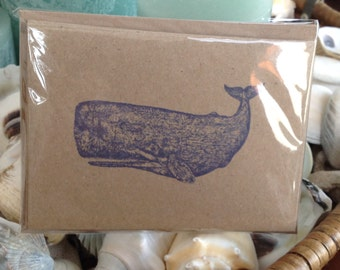 Whale Notecards, Set Of Six, Nautical Cards, Coastal cards, Whales, Crads, Coastal, greeting cards, thank you notes